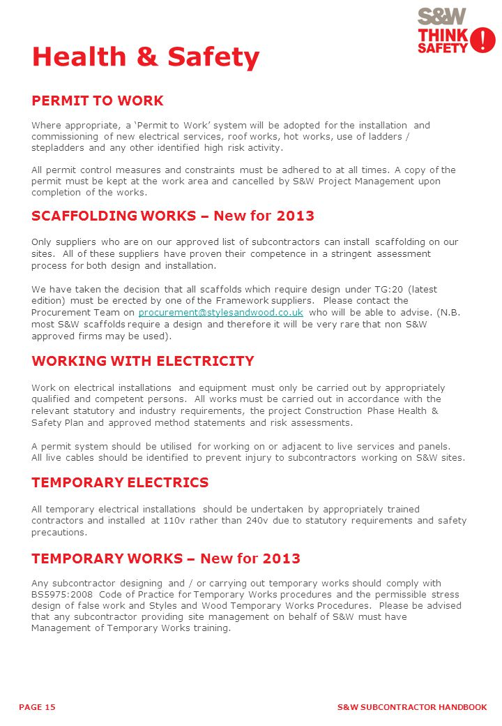 Health & Safety PERMIT TO WORK SCAFFOLDING WORKS – New for 2013