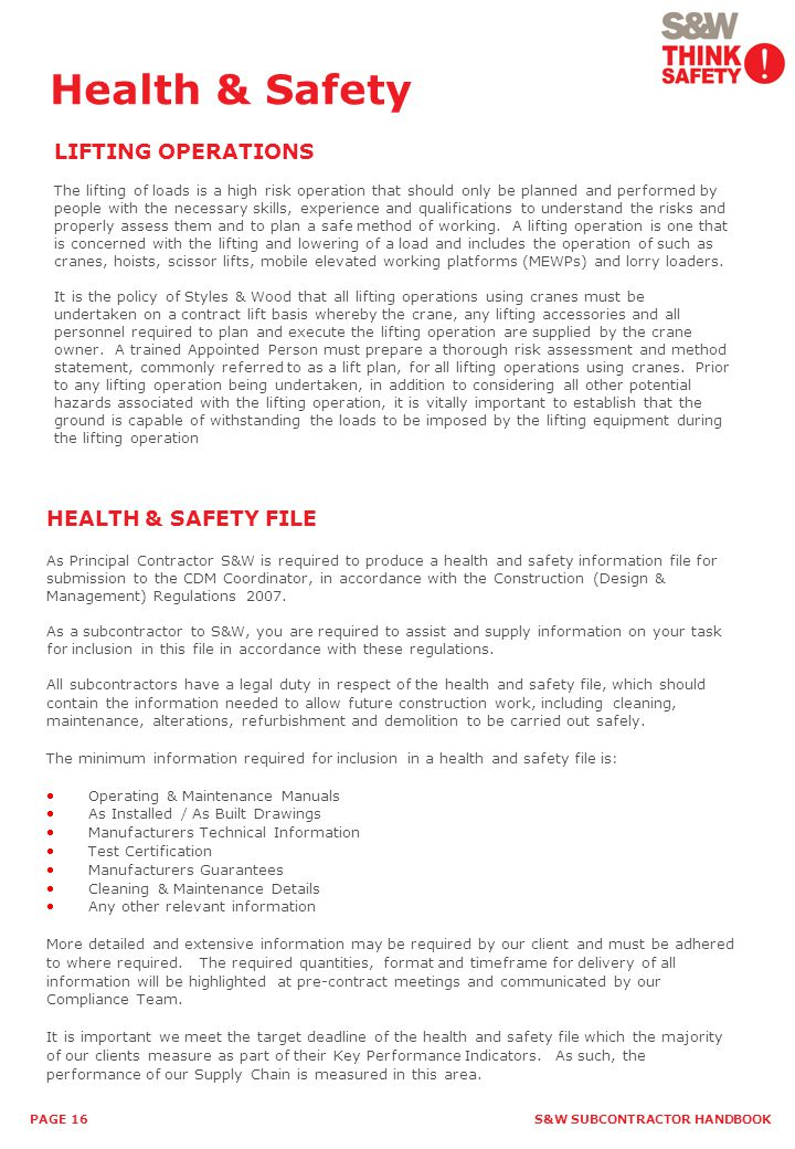 Health & Safety LIFTING OPERATIONS HEALTH & SAFETY FILE