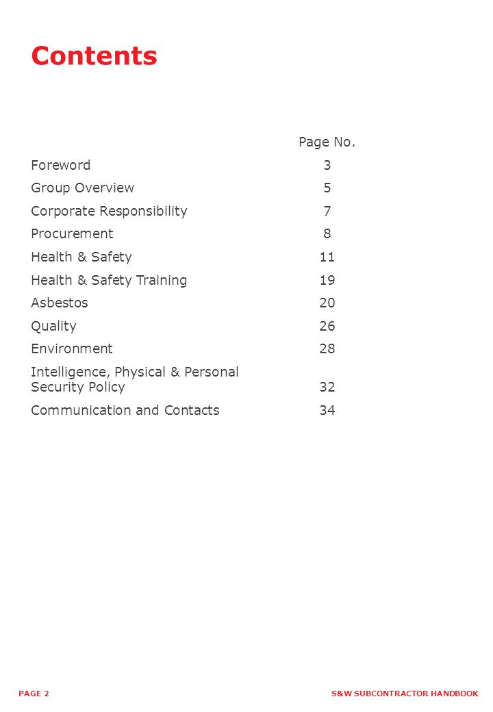 Contents Page No. Foreword 3 Group Overview 5