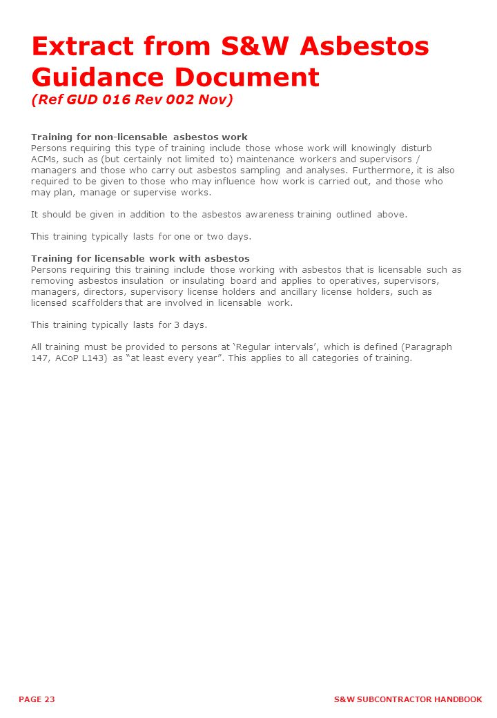 Extract from S&W Asbestos Guidance Document