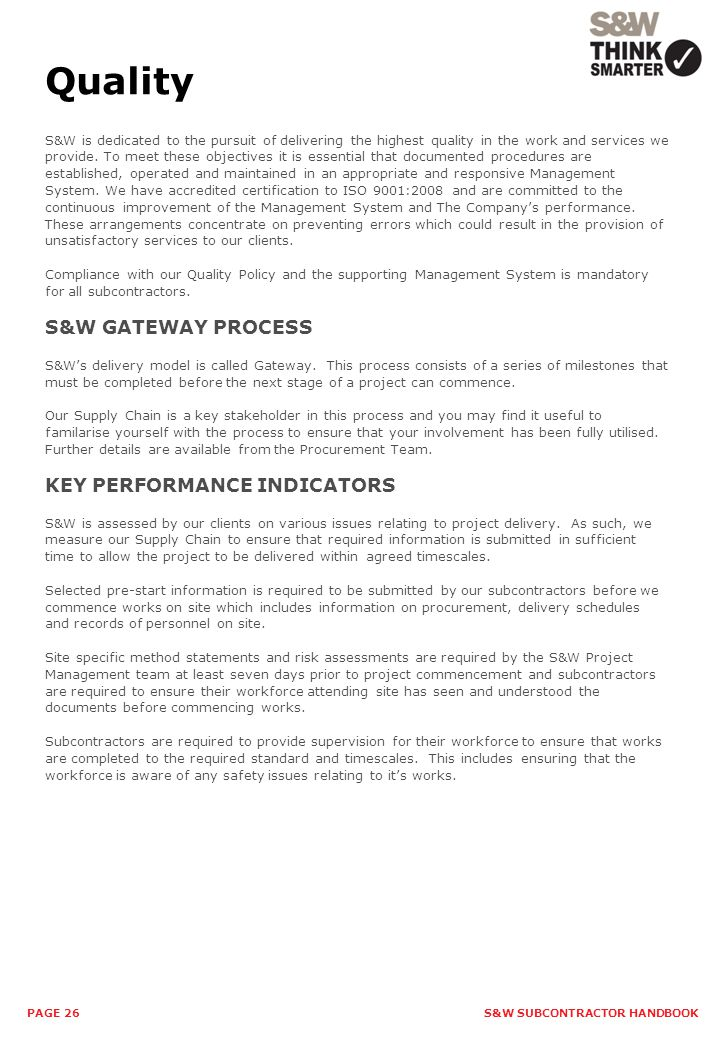 Quality S&W GATEWAY PROCESS KEY PERFORMANCE INDICATORS