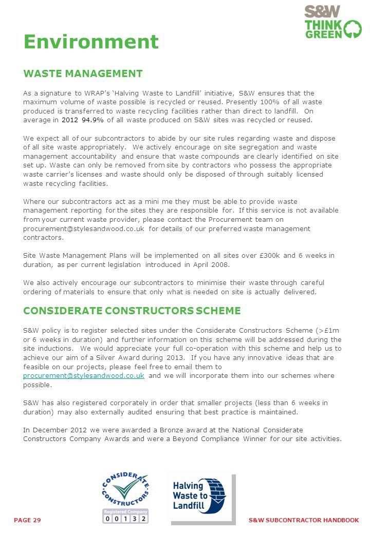 Environment WASTE MANAGEMENT CONSIDERATE CONSTRUCTORS SCHEME