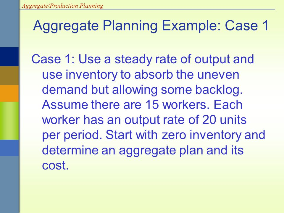 Aggregate Planning Example: Case 1