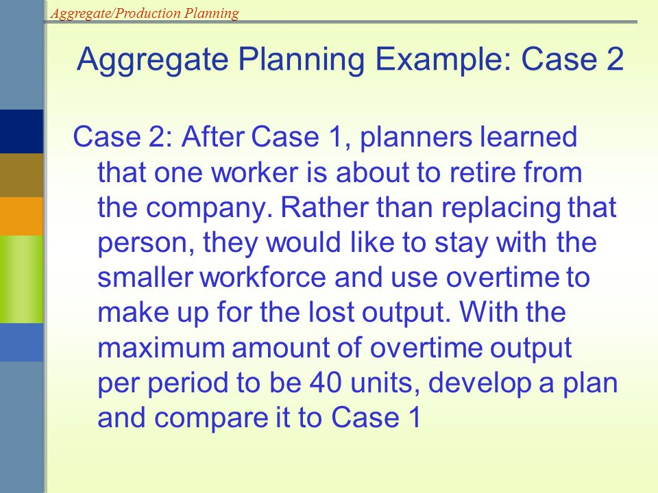 Aggregate Planning Example: Case 2