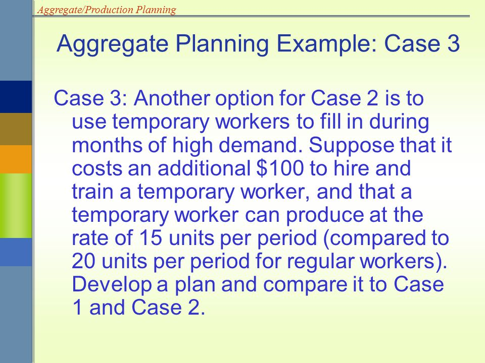Aggregate Planning Example: Case 3
