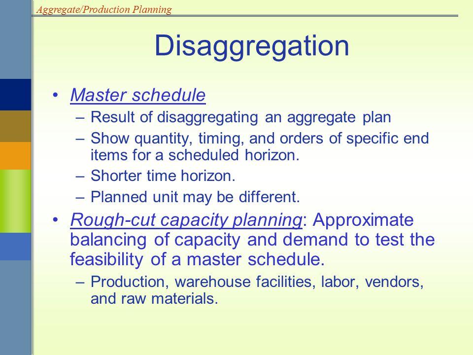 Disaggregation Master schedule