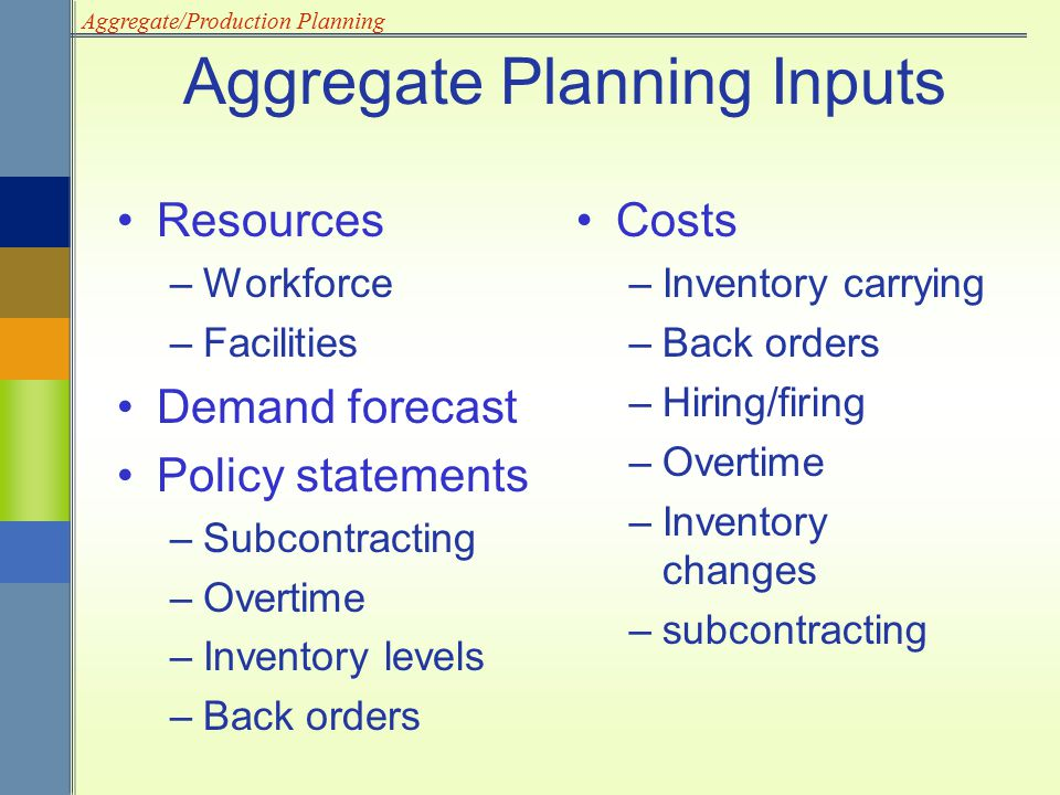 Aggregate Planning Inputs