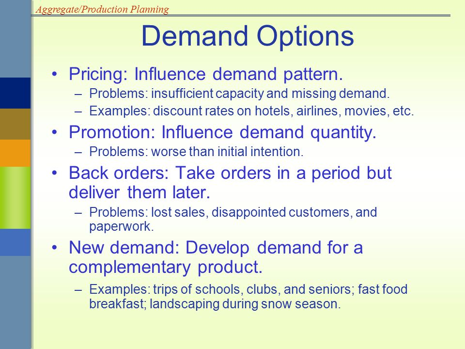 Demand Options Pricing: Influence demand pattern.