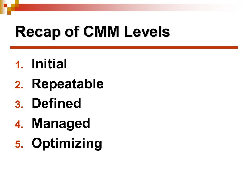 Recap of CMM Levels Initial Repeatable Defined Managed Optimizing