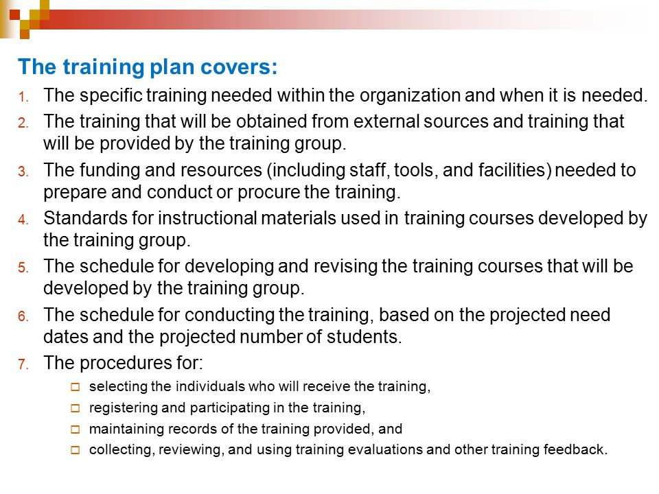The training plan covers: