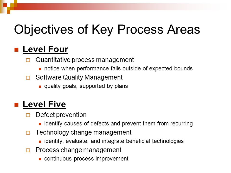 Objectives of Key Process Areas