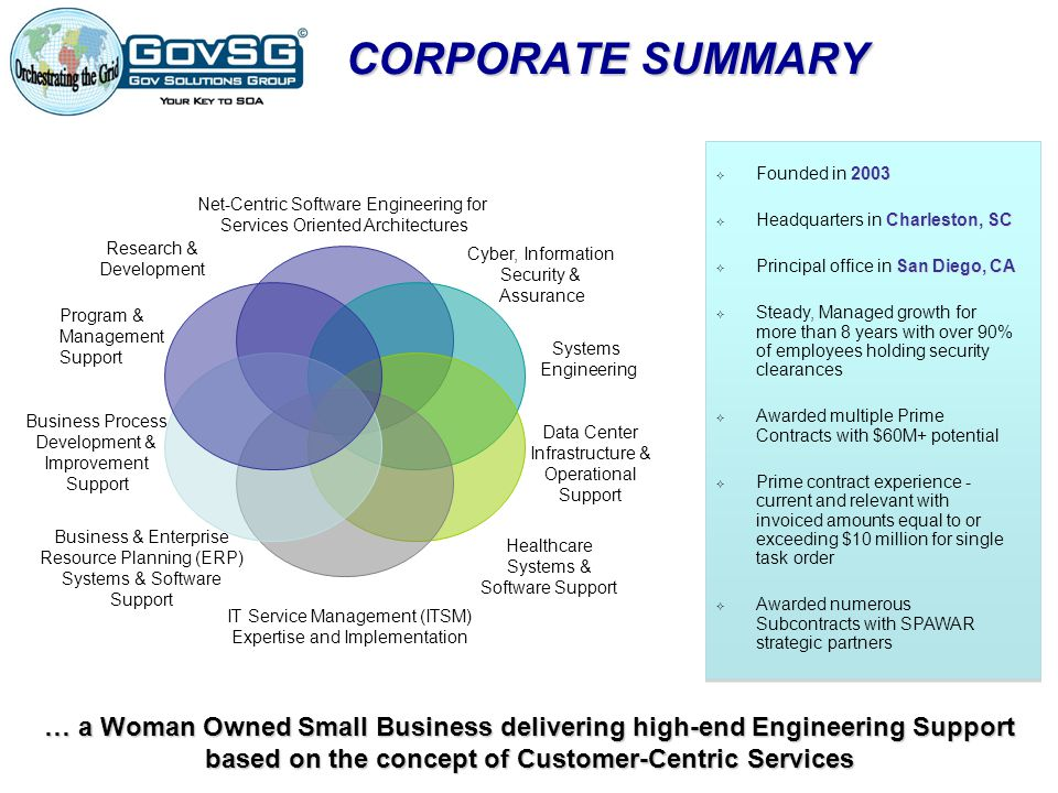 CORPORATE SUMMARY Net-Centric Software Engineering for. Services Oriented Architectures. Cyber, Information.