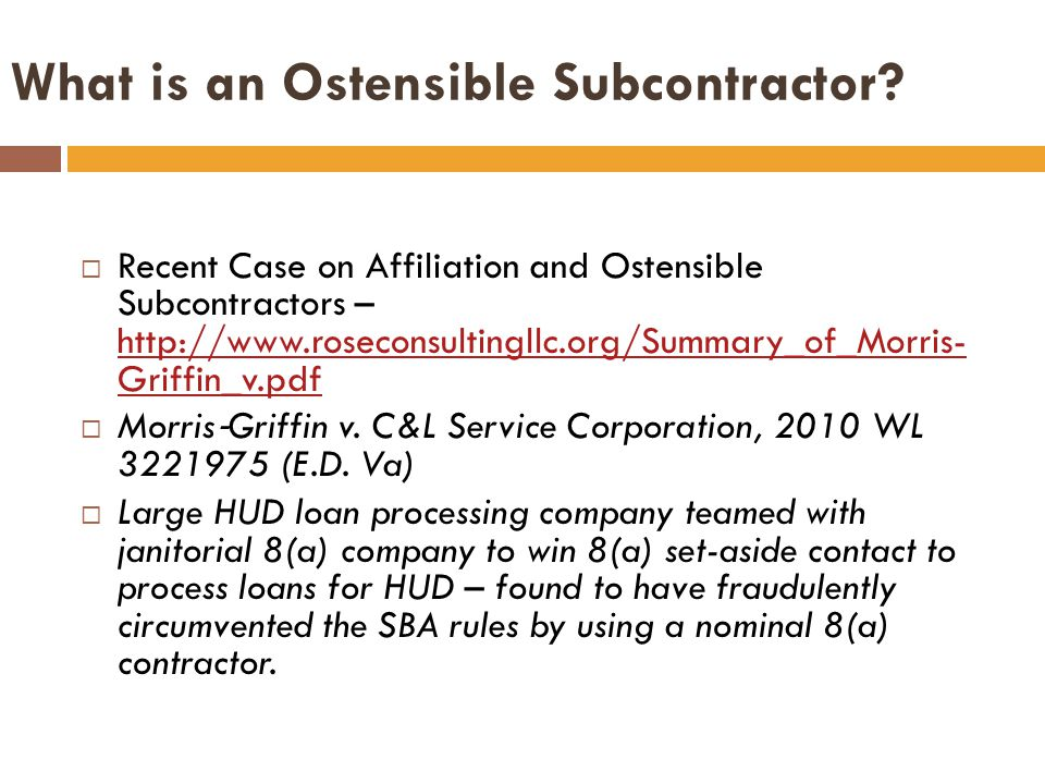What is an Ostensible Subcontractor