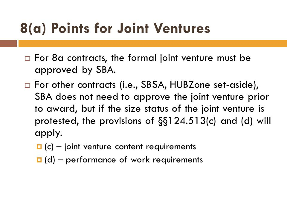 8(a) Points for Joint Ventures