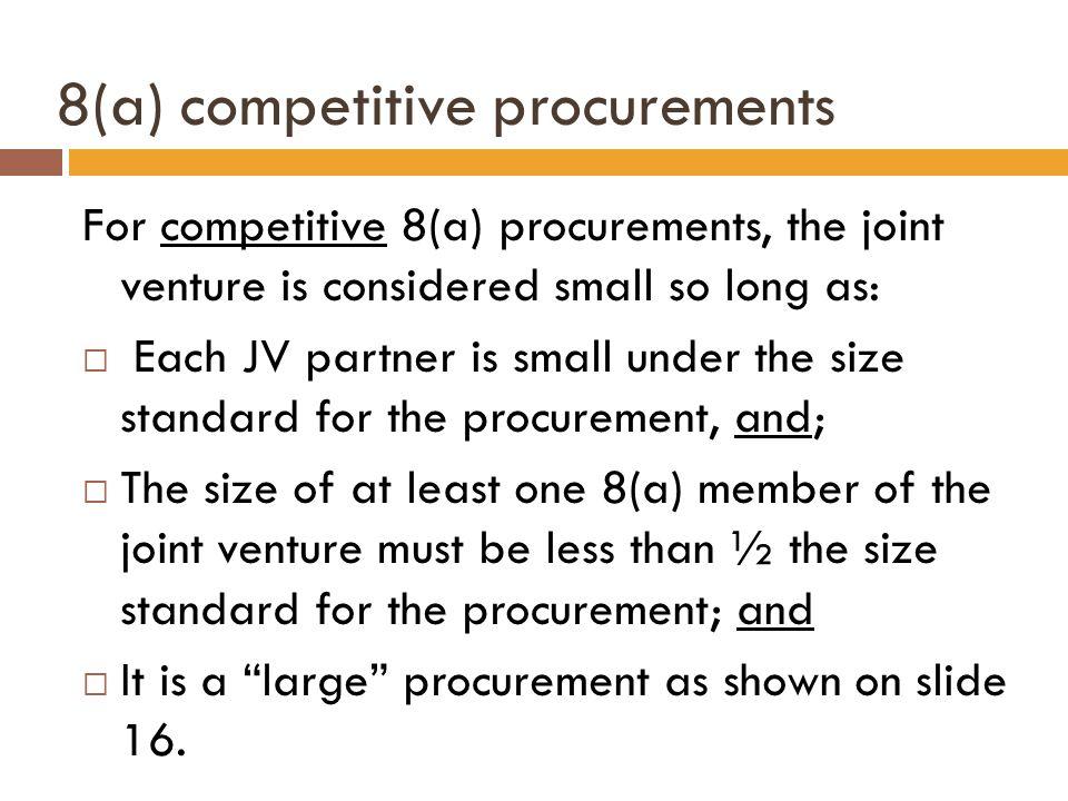 8(a) competitive procurements
