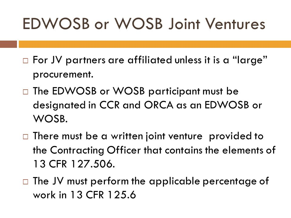 EDWOSB or WOSB Joint Ventures