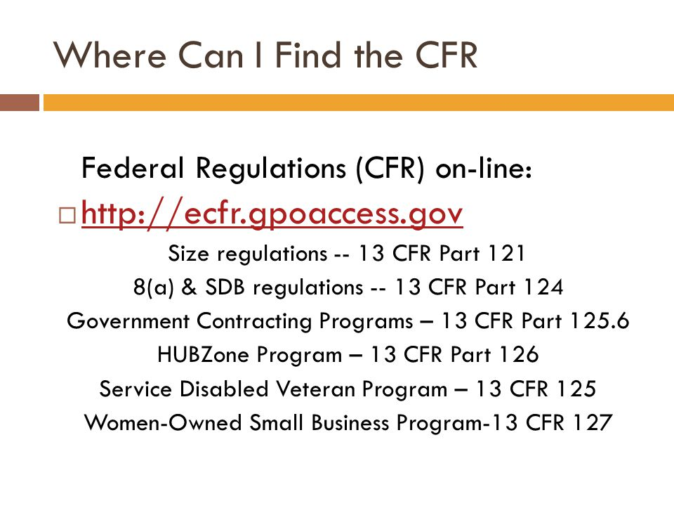 Where Can I Find the CFR http://ecfr.gpoaccess.gov