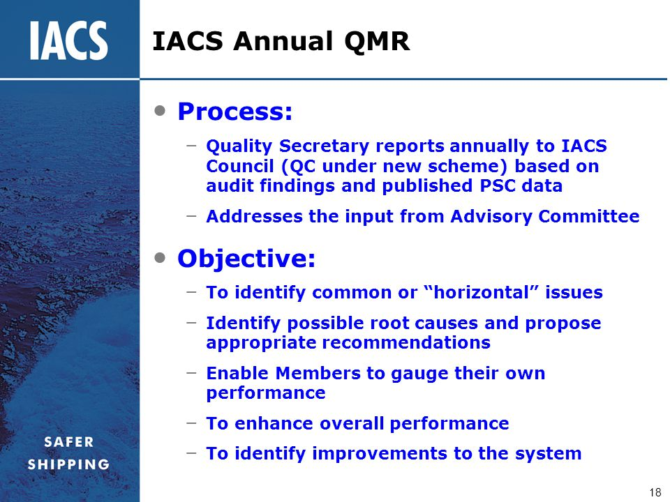 IACS Annual QMR Process: Objective: