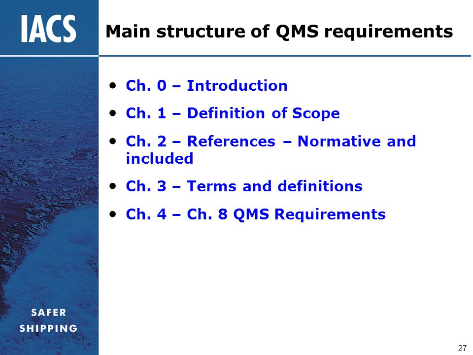 Main structure of QMS requirements