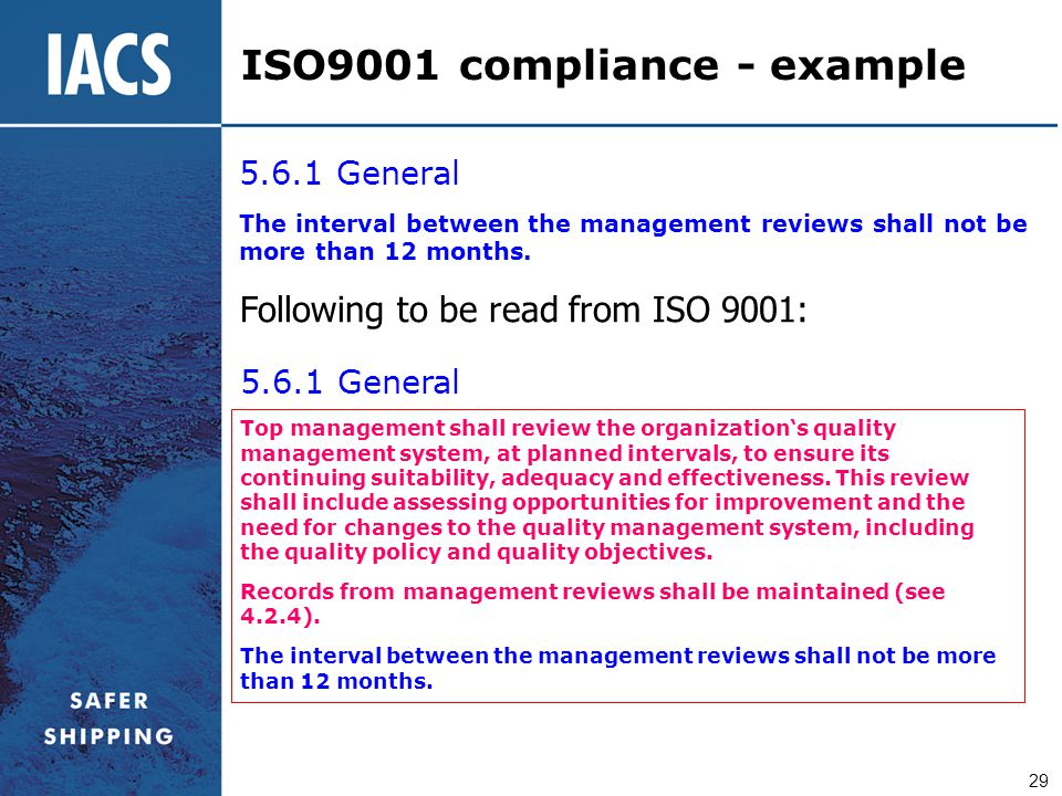 ISO9001 compliance - example