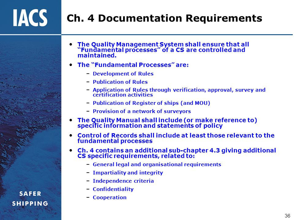 Ch. 4 Documentation Requirements