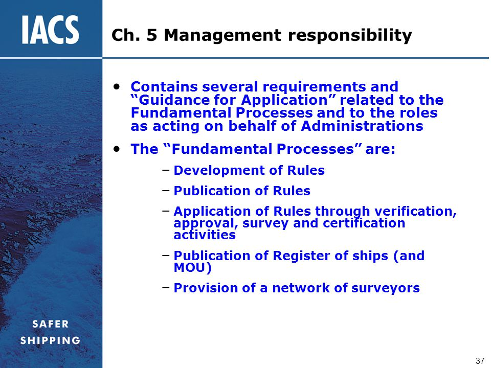 Ch. 5 Management responsibility