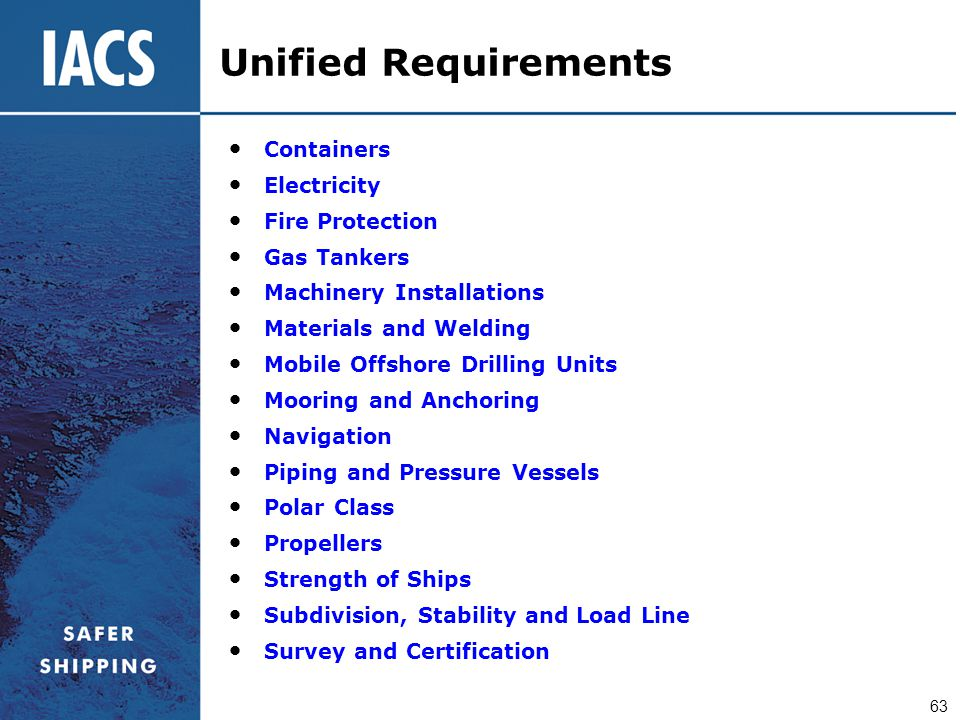 Unified Requirements Containers Electricity Fire Protection