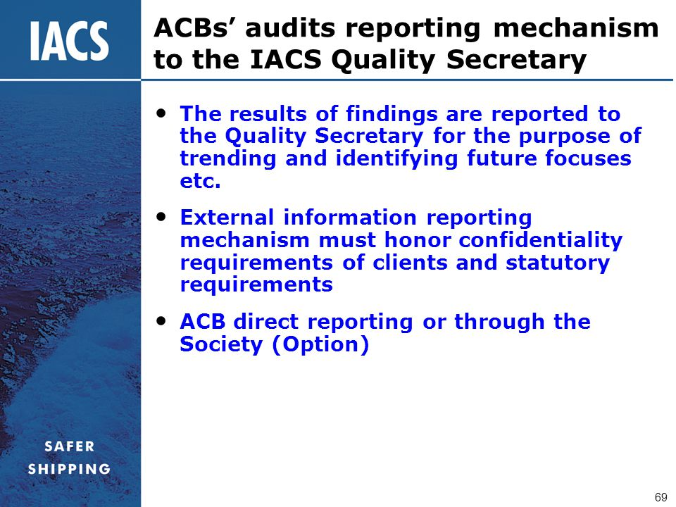 ACBs' audits reporting mechanism to the IACS Quality Secretary