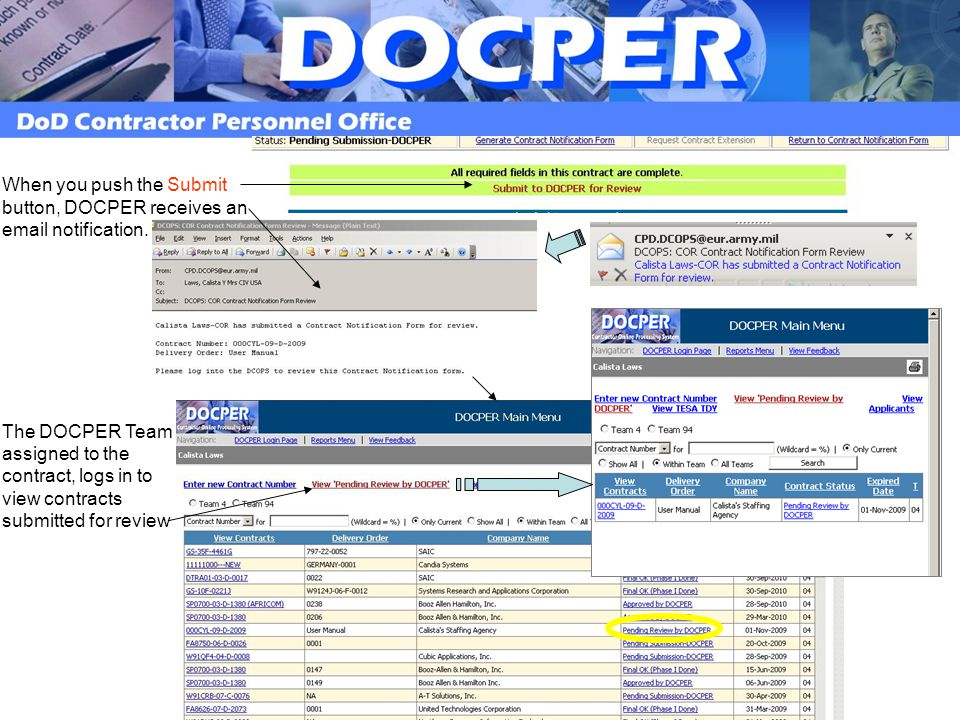 When you push the Submit button, DOCPER receives an email notification.