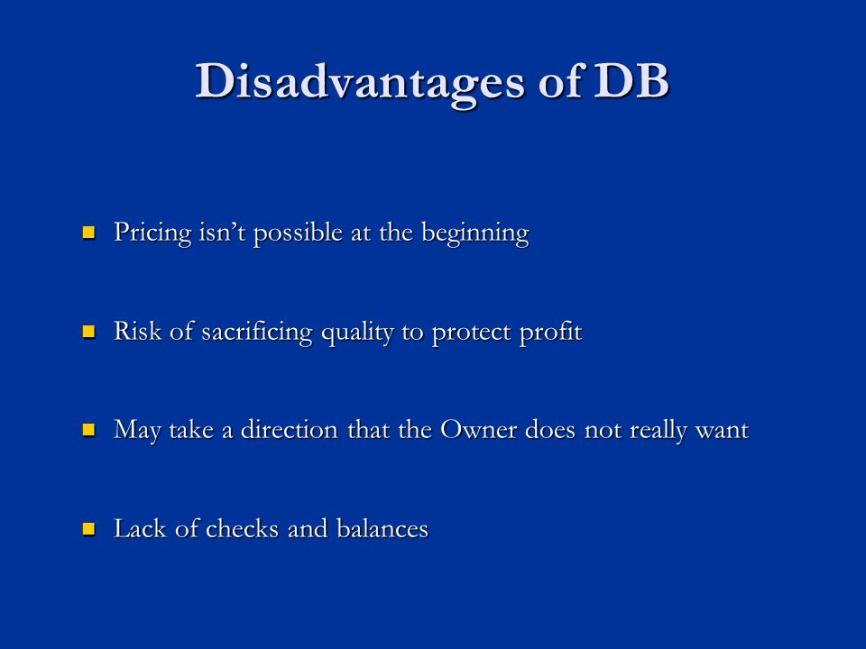 Disadvantages of DB Pricing isn't possible at the beginning