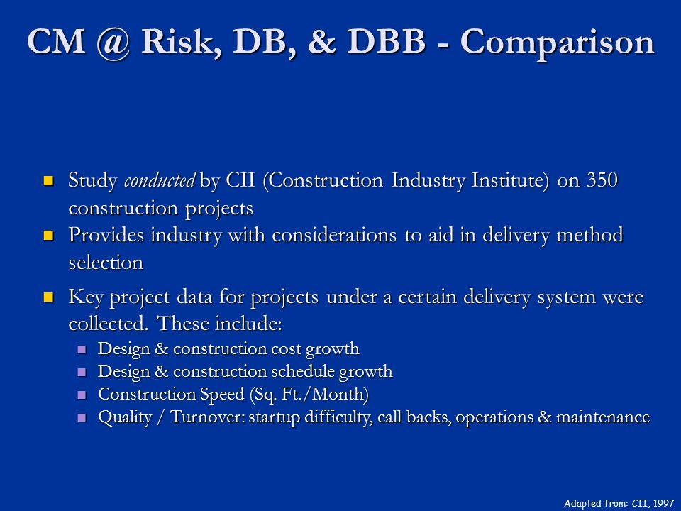 CM @ Risk, DB, & DBB - Comparison