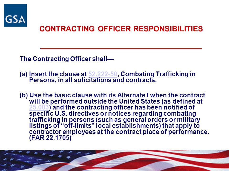 CONTRACTING OFFICER RESPONSIBILITIES _______________________