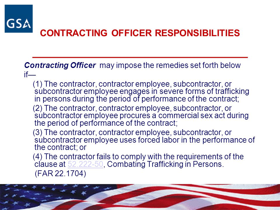 CONTRACTING OFFICER RESPONSIBILITIES _________________________