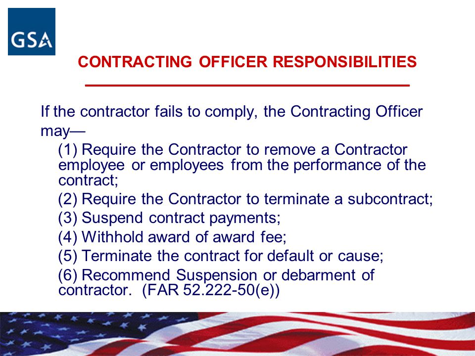 CONTRACTING OFFICER RESPONSIBILITIES ____________________________________________