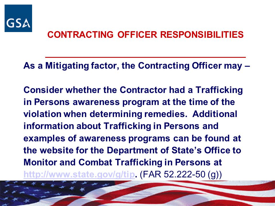CONTRACTING OFFICER RESPONSIBILITIES _______________________________________________