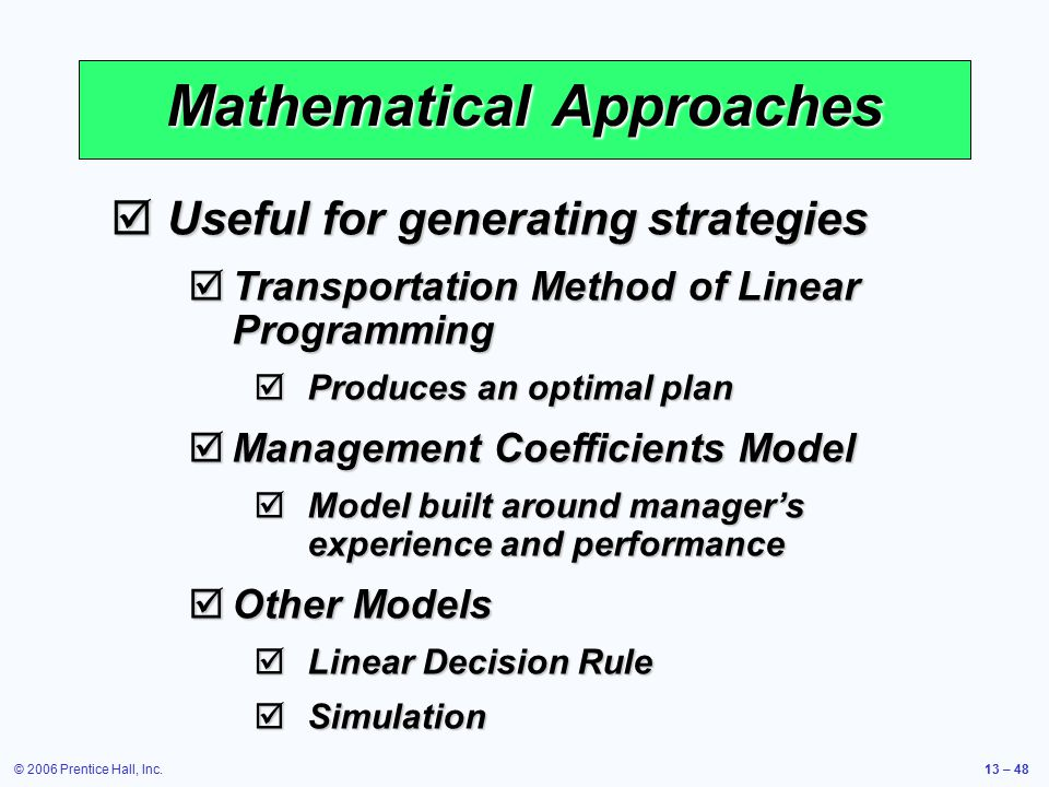 Mathematical Approaches