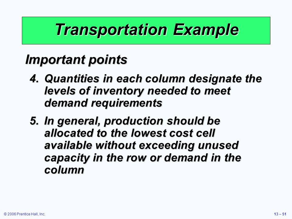 Transportation Example
