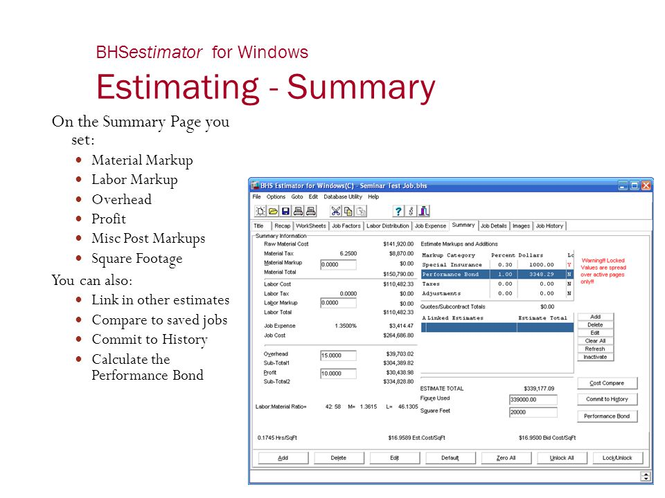 BHSestimator for Windows Estimating - Summary