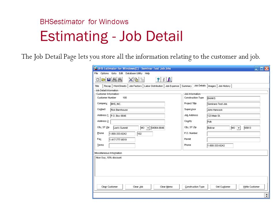 BHSestimator for Windows Estimating - Job Detail