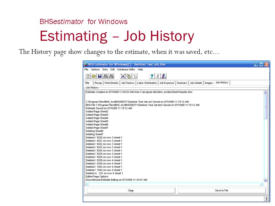 BHSestimator for Windows Estimating – Job History