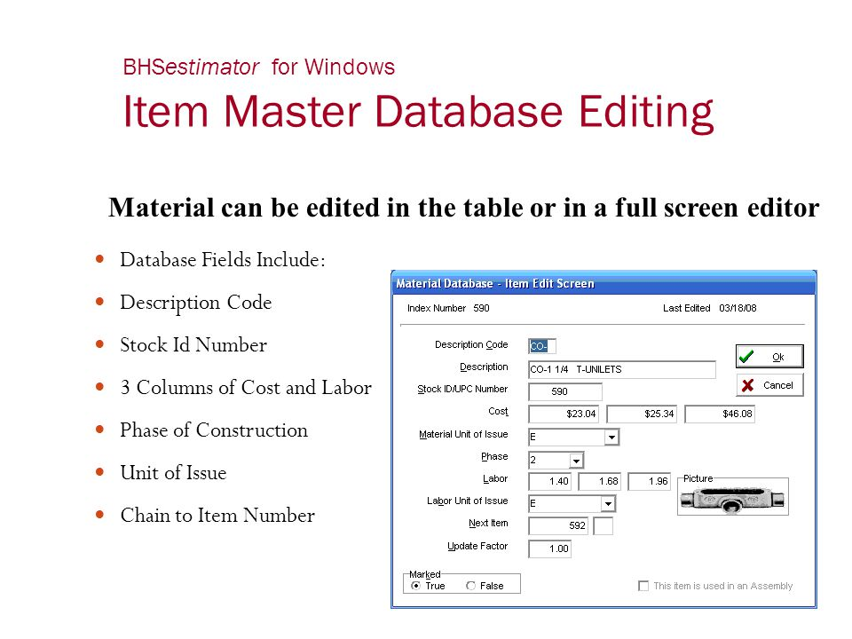 BHSestimator for Windows Item Master Database Editing