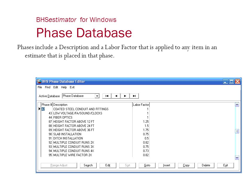 BHSestimator for Windows Phase Database