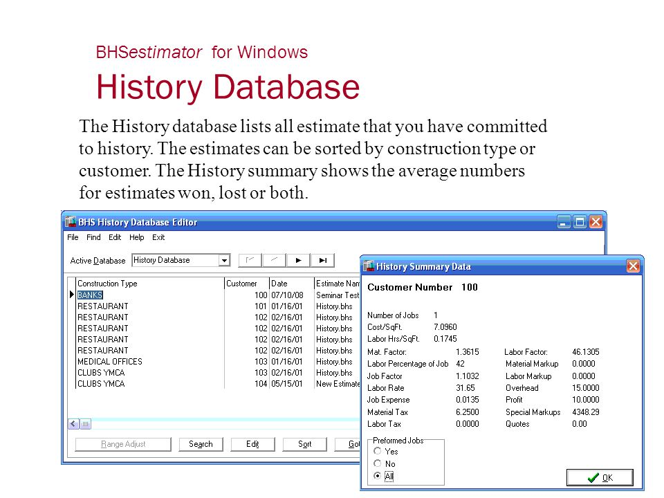 BHSestimator for Windows History Database