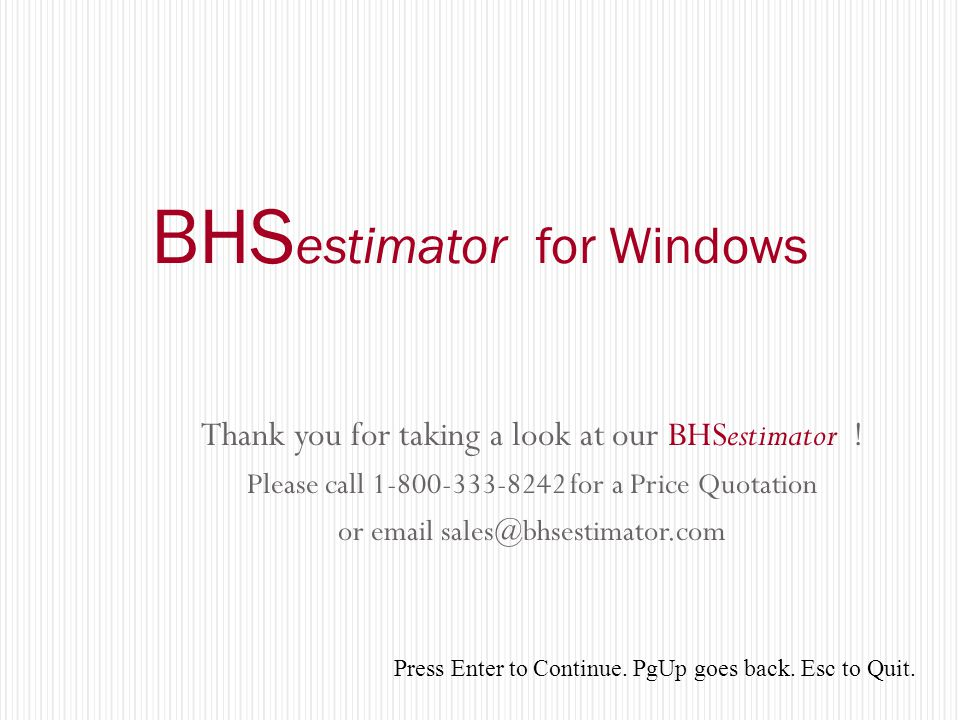 BHSestimator for Windows