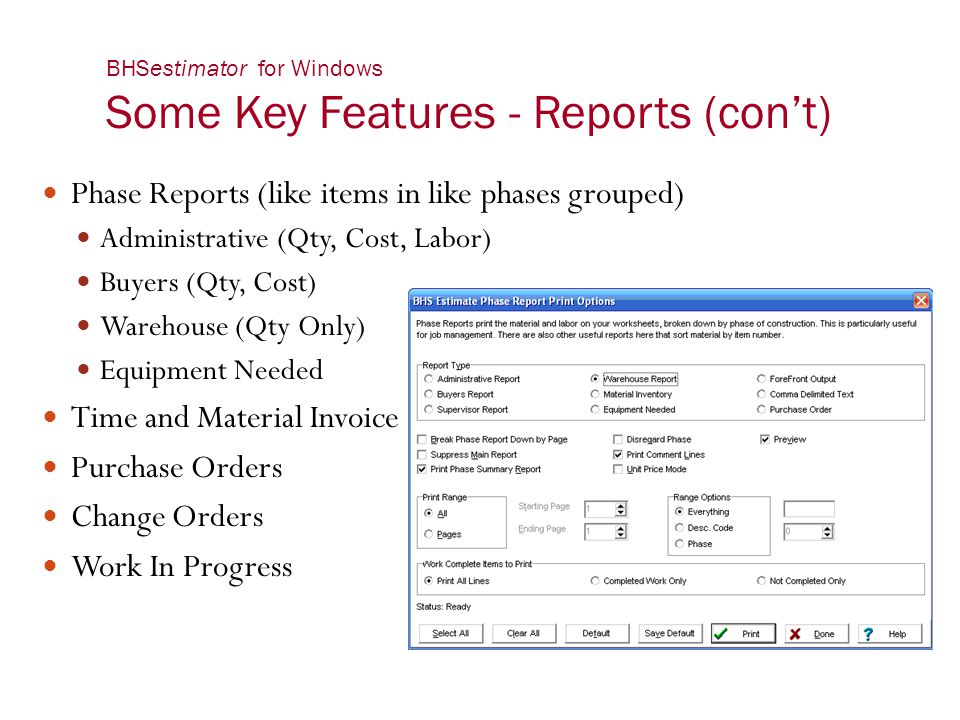 BHSestimator for Windows Some Key Features - Reports (con't)