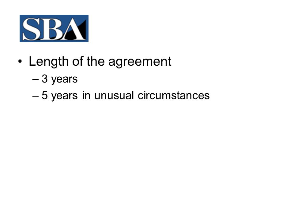 Length of the agreement