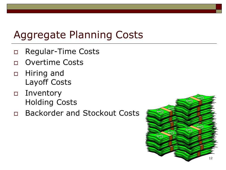 Aggregate Planning Costs
