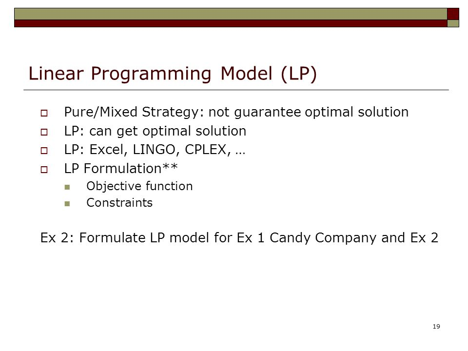 Linear Programming Model (LP)