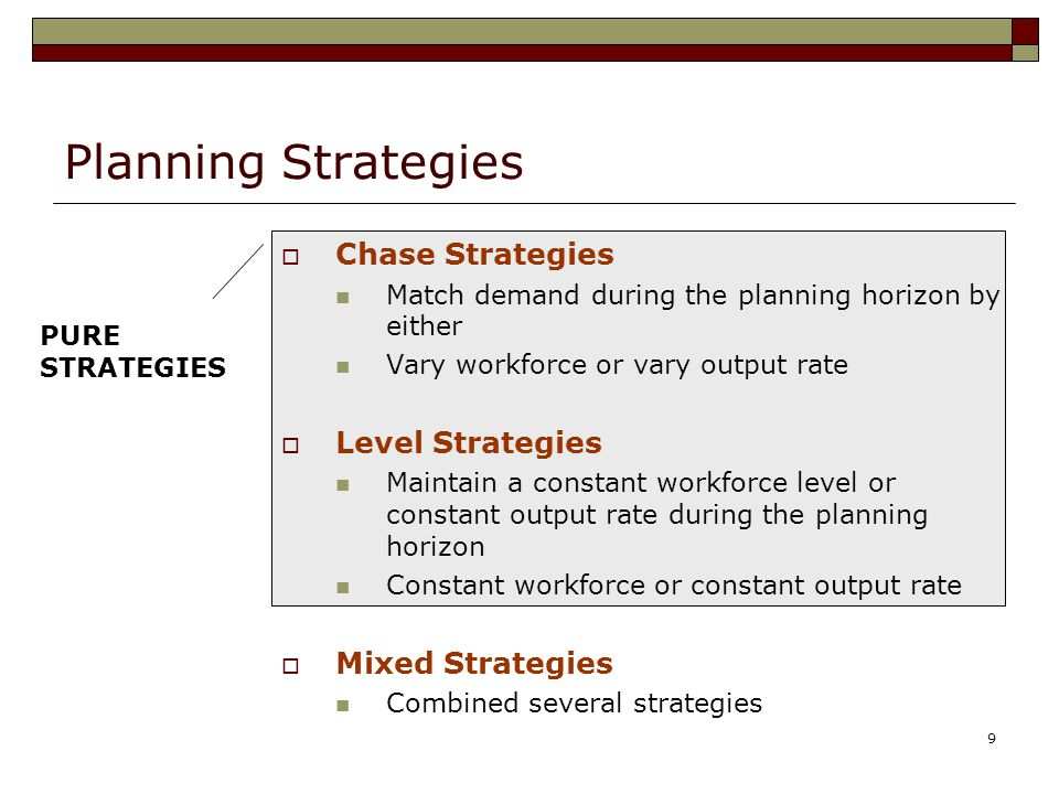 Planning Strategies Chase Strategies Level Strategies Mixed Strategies
