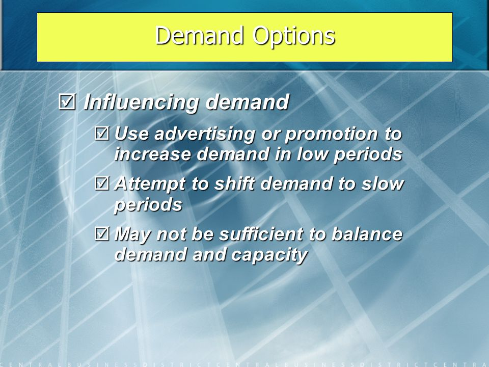 Demand Options Influencing demand